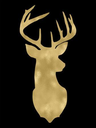 Deer Head Right Face Golden Black by Amy Brinkman