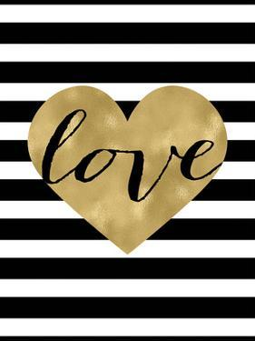 Love Heart Black White Stripe by Amy Brinkman