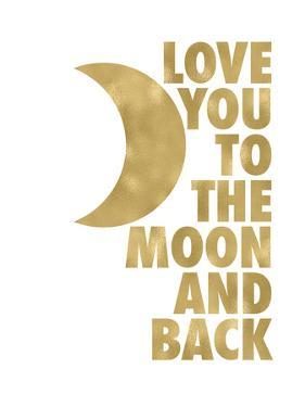 Love You Moon Back Golden White by Amy Brinkman