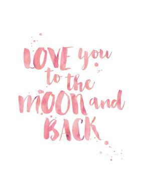 Love You To Moon Back Watercolor Pink by Amy Brinkman