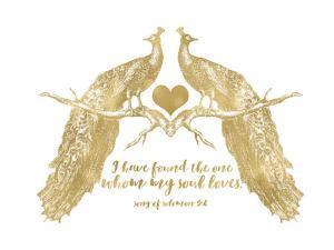 Peacock Pair Solomon3 4 Golden White by Amy Brinkman