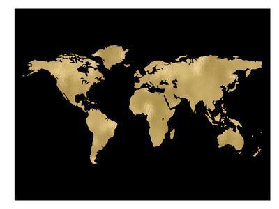World Map Golden Black