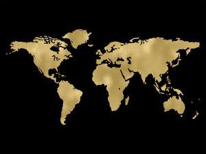 World Map Golden Black by Amy Brinkman