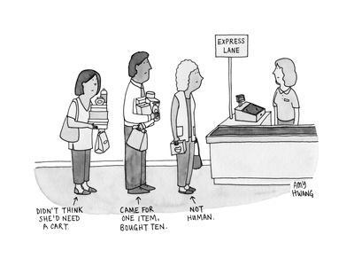 Three people in express lane checkout - New Yorker Cartoon