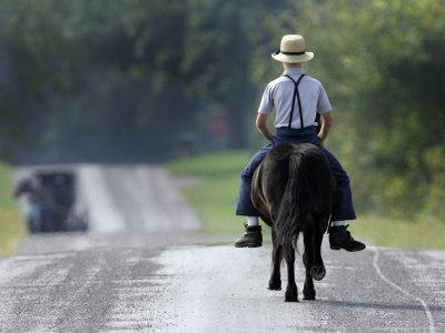 With a Buggy Approaching in the Distance, an Amish Boy Heads Down a Country Road on His Pony