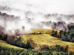 An old grey barn stands alone in a field surrounded by pine trees and enveloped by clouds. by Amy White