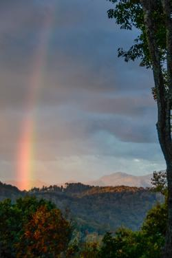 A Rare Morning Rainbow Seen in the East over the Blue Ridge Mountains by Amy White and Al Petteway