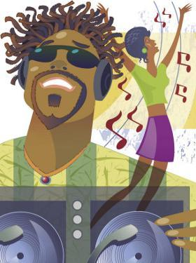 An Abstract of a African-American Male Hip-Hop DJ Holding a Turntable with Musical Notes