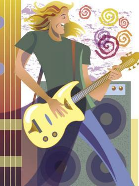 An Abstract of a Caucasian, Long-Haired Male Playing the Guitar in Front of Speakers