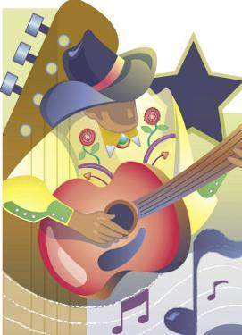 An Abstract of a Male Country-Western Musician Playing an Acoustic Guitar
