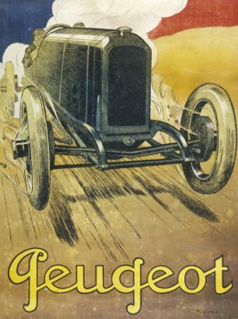 An Advertisement for Peugeot Motor Cars, Depicting One of their Racing Models at Full Pelt