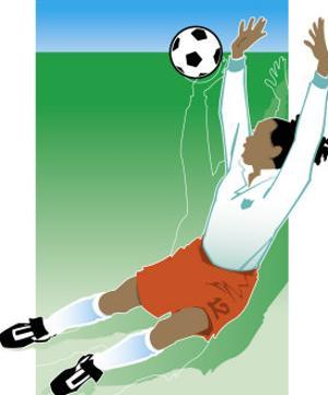 An African-American Soccer Player Jumping to Block a Soccer Ball