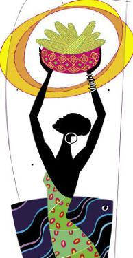 An African Woman Holding a Basket of Corn in the Air
