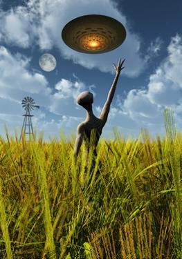 An Alien Being Directing a Ufo in Making Crop Circles
