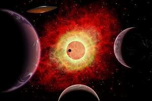 An Alien Flying Saucer Travels Amongst Alien Worlds