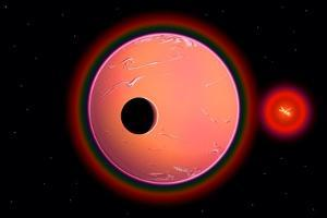 An Alien Planet and its Moon in Orbit around a Red Giant Star