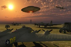 An Alien Ufo Flying Low over an American Airbase