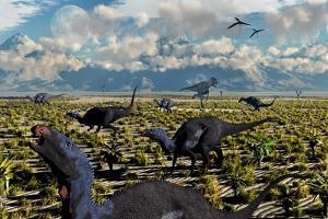 An Allosaurus Attacking a Herd of Camptosaurus Dinosaurs