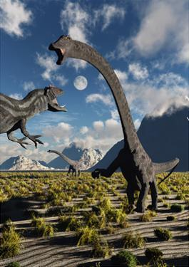 An Allosaurus Dinosaur Confronts a Pair of Diplodocus Dinosaurs