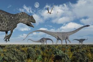 An Allosaurus Dinosaur Stalking a Herd of Diplodocus Dinosaurs