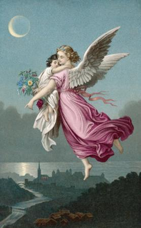 An Angel Flies Through the Night Sky Carrying a Child