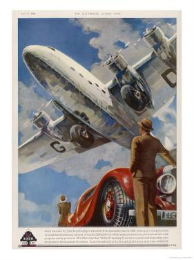 """An Armstrong Whitworth """"Ensign"""" of Imperial Airways Takes Off"""