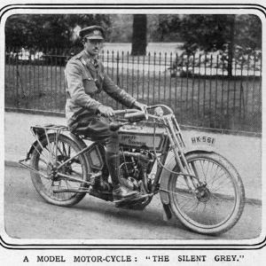 An Army Officer Sits Astride a 'silent Grey' Harley Davidson