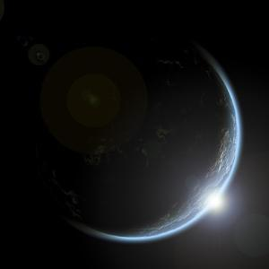 An Artist's Depiction of Sunrise over a Planet Viewed from Space