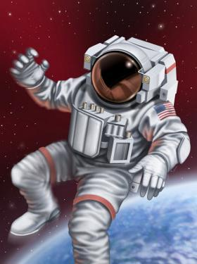 An Astronaut Floating Through Space
