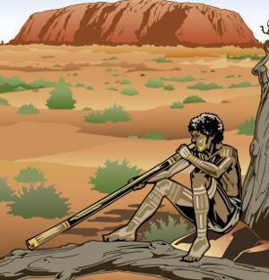 An Australian Aborigine Playing a Didgeridoo