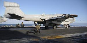 An Ea-6B Prowler Prepares to Launch Off the Flight Deck of USS Nimitz