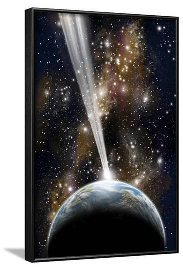 An Earth-Like Planet Facing an Imminent Collision with a Comet--Framed Art Print