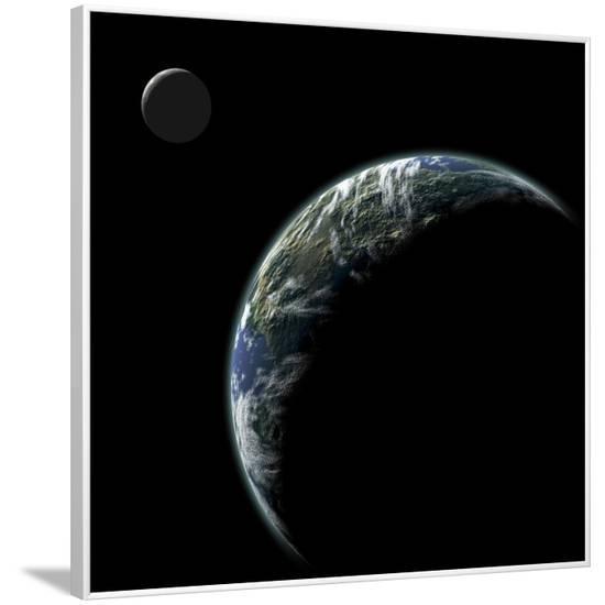 An Earth-Like Planet with an Orbiting Moon Illuminated by a Nearby Sun--Framed Art Print
