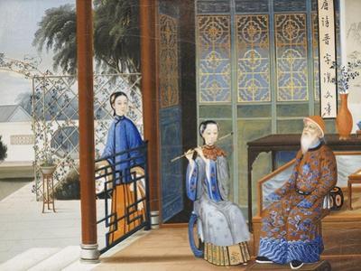 An Elderly Gentleman Listening to a Flautist in an Interior, Chinese School, Mid 19th Century