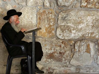 An Elderly Ultra-Orthodox Jew Prays at the Western Wall Plaza