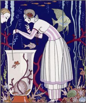 An Elegant Woman and Her Aquarium