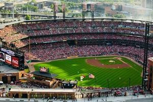 An elevated view of the third Busch Stadium, St. Louis, Missouri, where the Pittsburgh Pirates b...