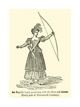 An English Lady Practising with the Bow and Arrow, Early Part of Nineteenth Century
