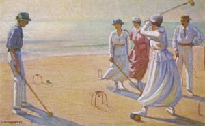 An Evening Game of Croquet on the Beach
