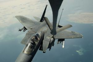 An F-15E Strike Eagle Receives Fuel from a Kc-135R Stratotanker