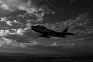 An F-86F Sabre in Flight Near Glendale, California