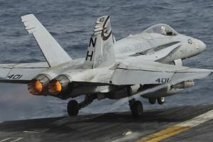 An F-A-18C Hornet Launches Off the Flight Deck of USS Nimitz