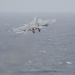 An F-A-18E Super Hornet Launches Off the Flight Deck of USS Nimitz