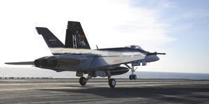 An F-A-18E Super Hornet Touches the Flight Deck of USS Nimitz