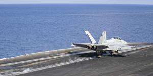 An F-A-18F Super Hornet Launches Off the Flight Deck of USS Nimitz