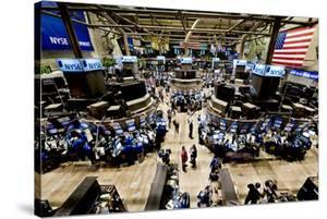 An high angle view of the New York Stock Exchange's trading floor