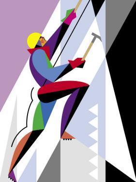 An Ice Climber Scaling an Incline