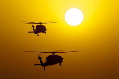 An Mh-60S Knighthawk and Mh-60R Sea Hawk at Sunset