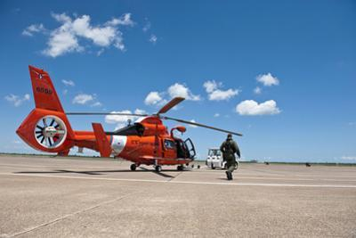 An Mh-65C Dolphin Helicopter of the U.S. Coast Guard
