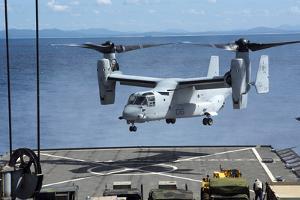 An MV-22 Osprey Lands on the Flight Deck of USS Germantown